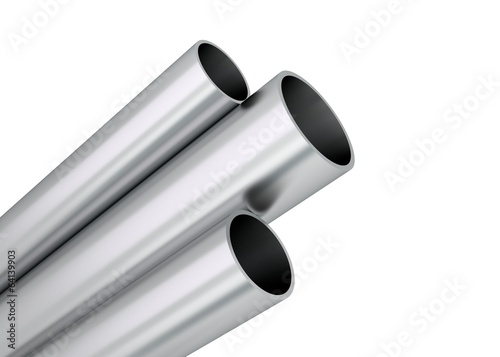 canvas print picture Aluminium Rohre Profile aufsteigend