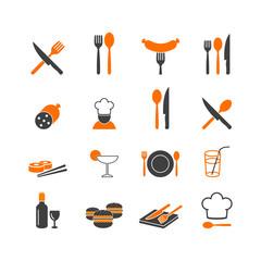 Restaurant menu kitchenware icons button