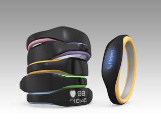 Smart wristbands on gray background