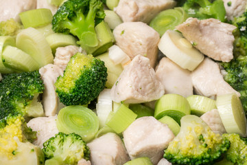 Broccoli And Chicken Meat In Frying Pan