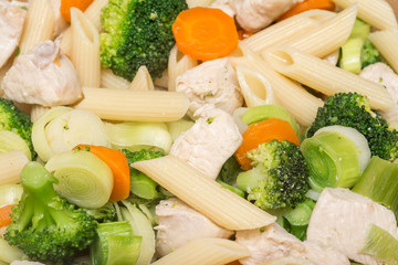 Italian Pasta With Broccoli, Carrots And Chicken Meat