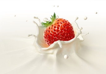 Strawberry falling into milk splashing.