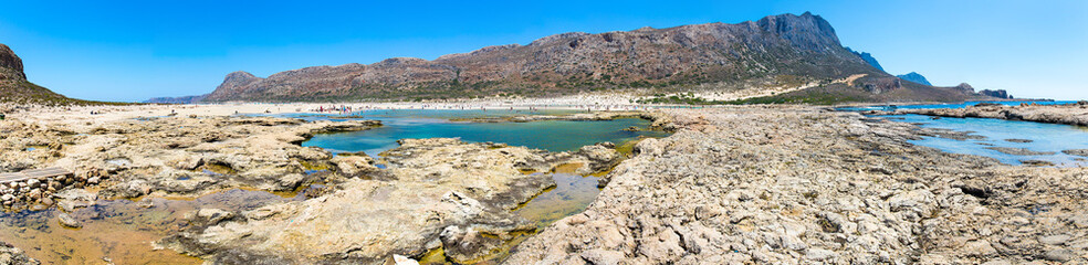 Panorama of Balos beach. View from Gramvousa Island, Crete