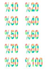 renkli % indirim oranı