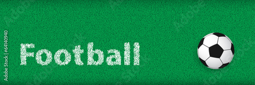 Soccer Banner, Simple Football on Grass with Text: Football
