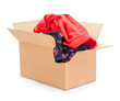 Donation colored clothing in box isolated on white
