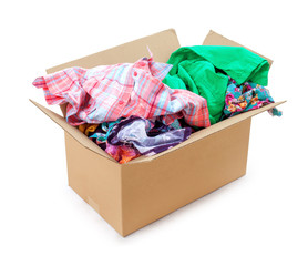 colored clothing in a box on an isolated white background