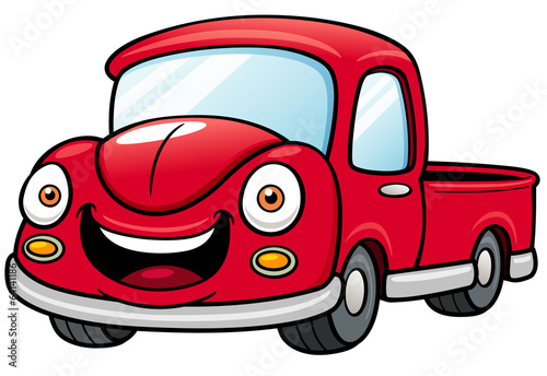 Vector illustration of Cartoon car pickup