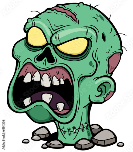 Vector illustration of Cartoon Zombie head