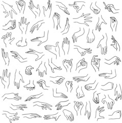 Woman Hands Pack Lineart