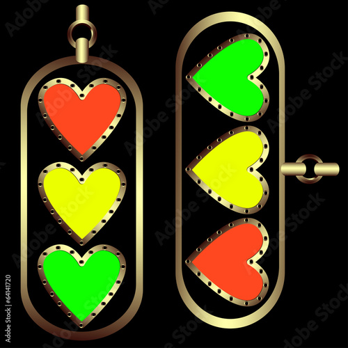 Set of decorative hearts