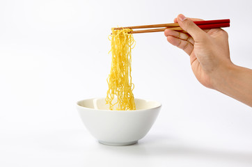 noodle with pinch chopsticks isolated in white background