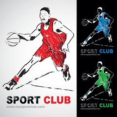 basket basketteur basketball dunk dribble club logo