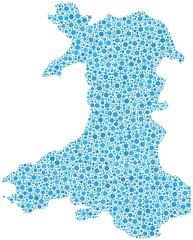 Decorative map of Wales - UK - in a mosaic of blue bubbles