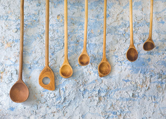 vintage wooden spoons, kitchen utensils, free copy space