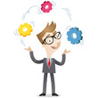 Businessman, juggling,cog wheels, strategic thinking, creativity