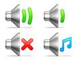 Audio volume icons.