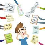 Fototapety Mann, Stress, Rechnungen, finanzielle Probleme