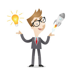 Businessman, light bulb idea, rocket, business startup