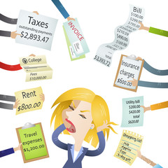 Frustrated woman, bills, signs, payment demands