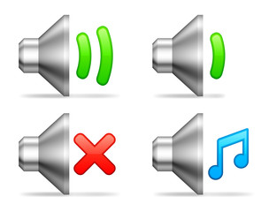 Audio volume icons.