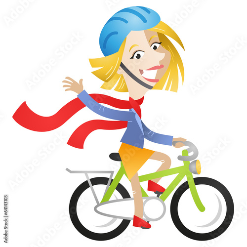 Woman, bike riding, waving, red scarf