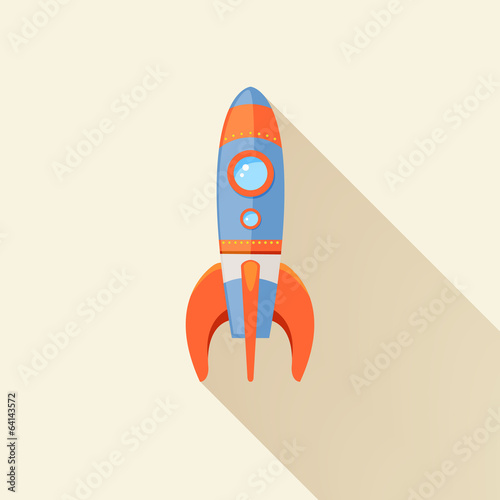 Rocket long shadow icon