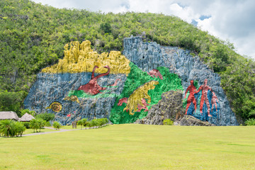 Paintings at the Prehistory Mural in Vinales , Cuba