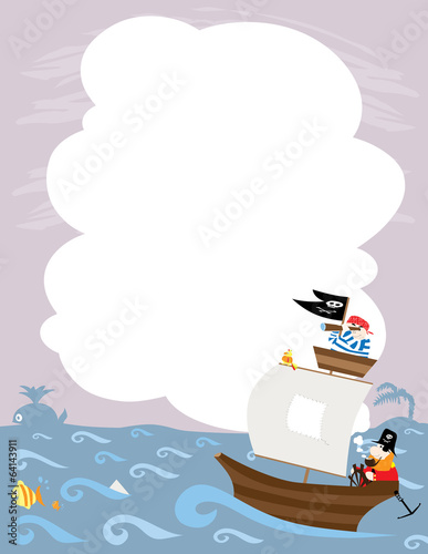 pirates ship, waves, space to fill in- vectors