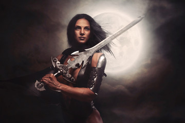 Sexy Warrior Woman with Moon