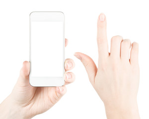 Hand holding white smartphone with blank screen isolated