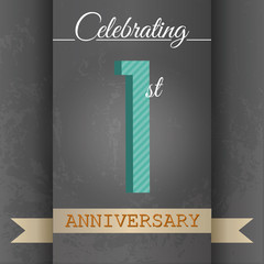 1st Anniversary poster/template design in retro style-Vector