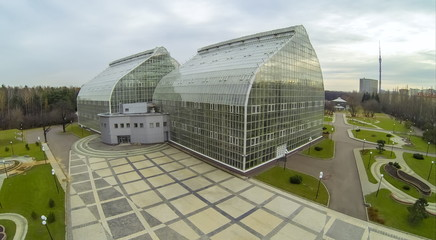 View from quadrocopter to building of Botanical Garden