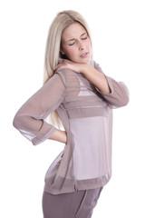 Kranke junge Frau mit Rückenschmerzen