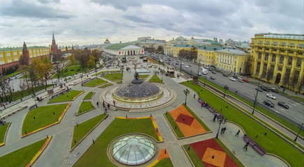 View from quadrocopter to Fountain on underground shopping mall