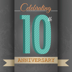 10th Anniversary poster/template design in retro style-Vector