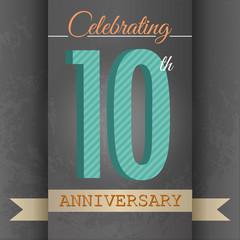 10th Anniversary poster/template design in retro style-Vector
