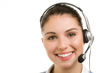 happy smiling female support phone operator