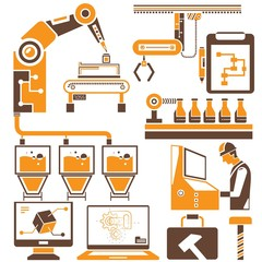 manufacturing, production line icons, orange icons
