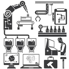 manufacturing, production line icons