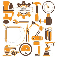 construction, manufacturing, industry icons, orange icons