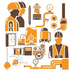 manufacturing, industry icons, orange icons
