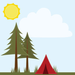 Camping scene with pine trees and ten