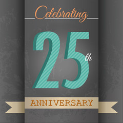 25th Anniversary poster/template design in retro style-Vector