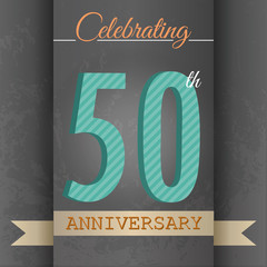 50th Anniversary poster/template design in retro style-Vector