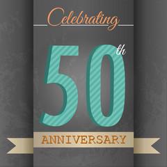 50th Anniversary poster/template design in retro style-Vector