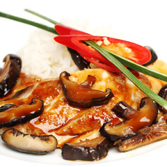 Chicken fillet and mushrooms, gourmet restaurant food background