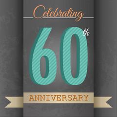 60th Anniversary poster/template design in retro style-Vector