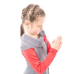 The girl prays on white background
