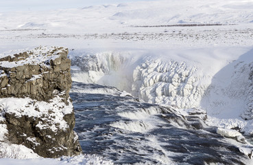gullfoss frozen waterfall in winter